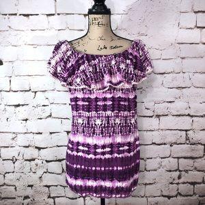 Off Shoulder Purple Tie Dye Blouse